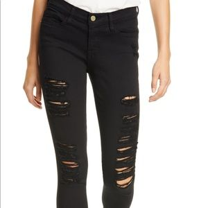 Frame Le High Skinny Black Ripped Jeans size 27